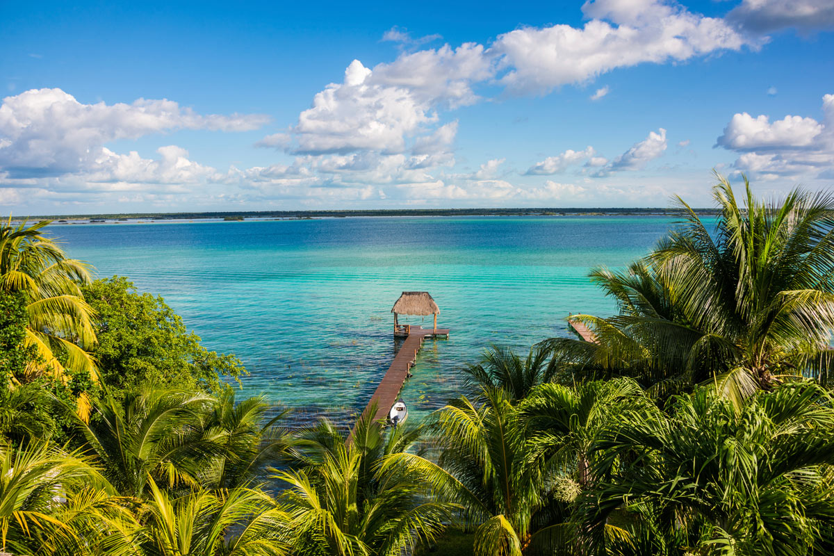 Vista de la playa de Bacalar en Quintana Roo